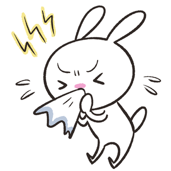 Rabbit blowing nose