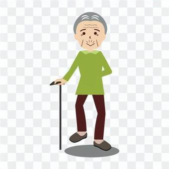 An old man walking with a cane cheerfully