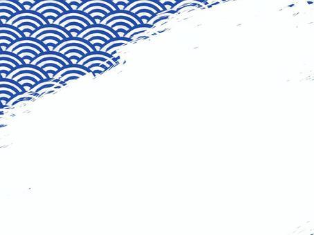 毛筆書寫青海波填充背景:左上:藏青x白