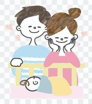 [Dango]一對夫婦看著嬰兒的熟睡的臉