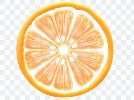 圓形切成薄片的橙色(真實感)