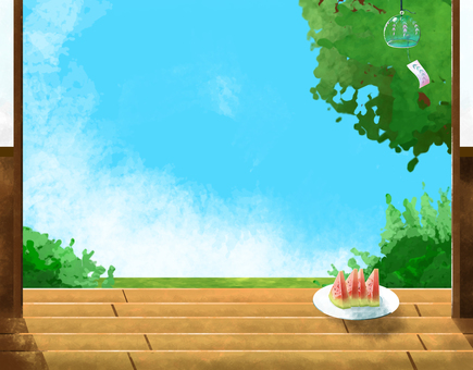 Summer landscape, watermelon and wind chimes on the porch