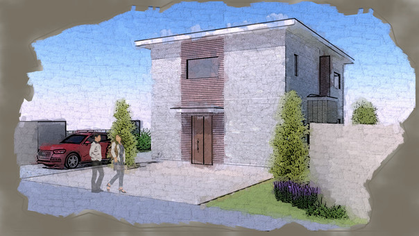 Architectural 3D model watercolor style