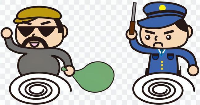 小偷和警察(卡通風格)