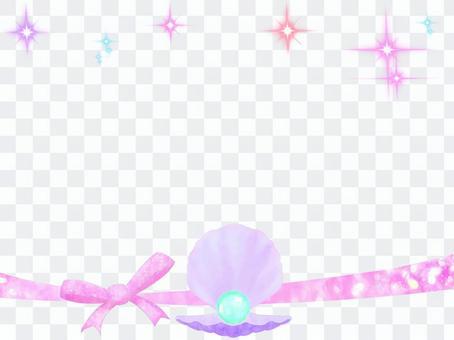珍珠貝殼和絲帶框架3