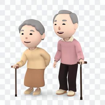 Elderly couple wearing a wand 03