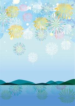 Fireworks display on a watercolor-style lake (vertical)