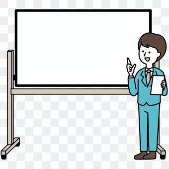Men with whiteboard and suit