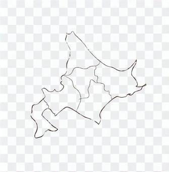 Hokkaido map handwritten monochrome