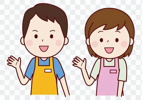 男人和女人穿著圍裙