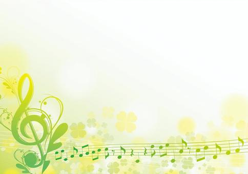 Elegant yellow and green treble clef frame horizontal 1