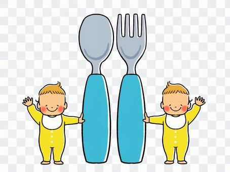 湯匙,叉子和嬰兒