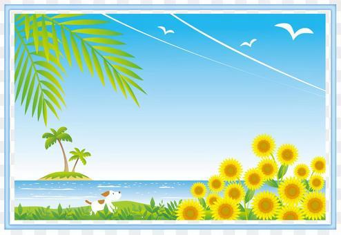 Sunflower and summer landscape frame