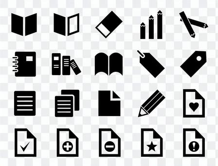 書籍,文具,辦公用品等的圖標。