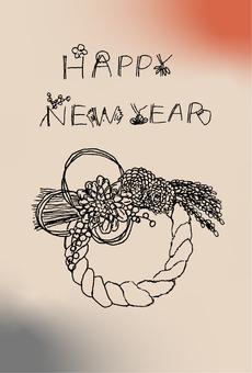 日式新年賀卡材料簡單的shimenawa花圈