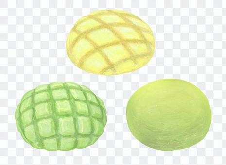3 kinds of melon bread