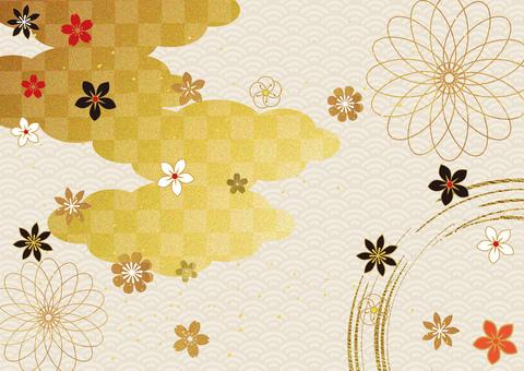 日本圖案和金箔 cloud_background 2874