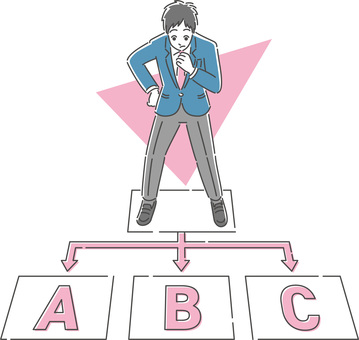 Illustration of a male student thinking about his career