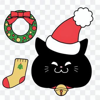 クリスマス猫黒猫