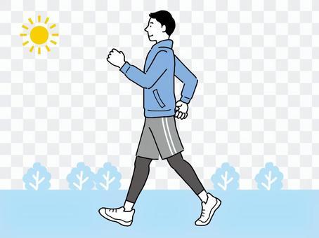 為了身體健康,男人外出散步