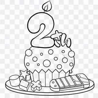 年齡2歲生日蛋糕線條畫