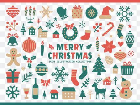 クリスマスのシンプルなアイコンイラスト