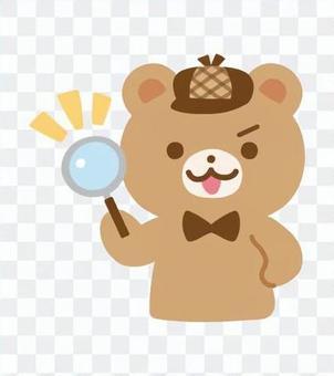 くまの探偵キャラクター(虫眼鏡)