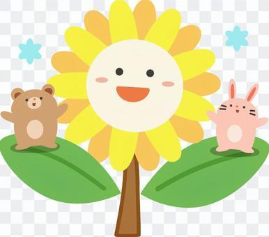 向日葵上的熊和兔子