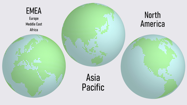 Globe 3 Region 亞洲 北美 歐洲