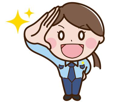敬禮衛士/警官女鳥瞰圖