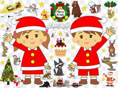 子供_クリスマス_セット_動物達