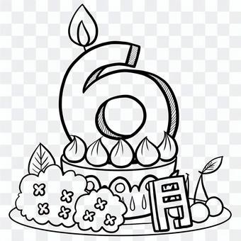 生日蛋糕六月繪畫