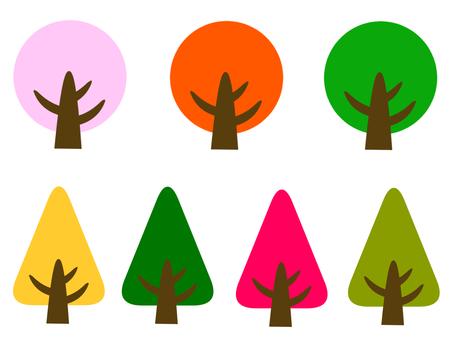 사계절 나무 일러스트