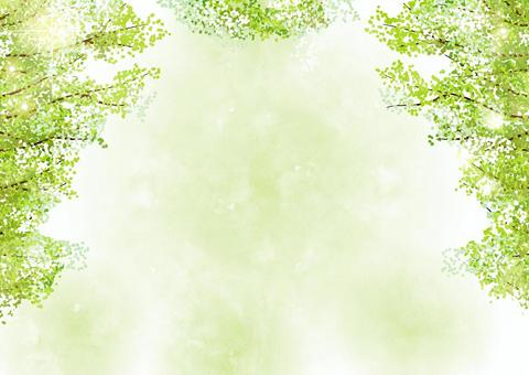 Watercolor style glitter fresh green tree-lined background horizontal