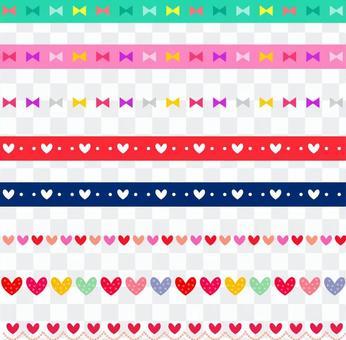 絲帶和心臟的各種各樣的線