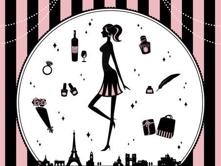 時尚成人女性材料套裝(粉紅色)