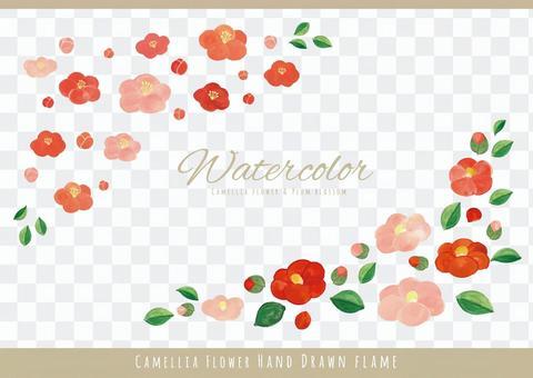 水彩カラー椿と梅のコーナー飾り