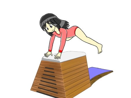 Girl jumping in the vaulting box Part 6