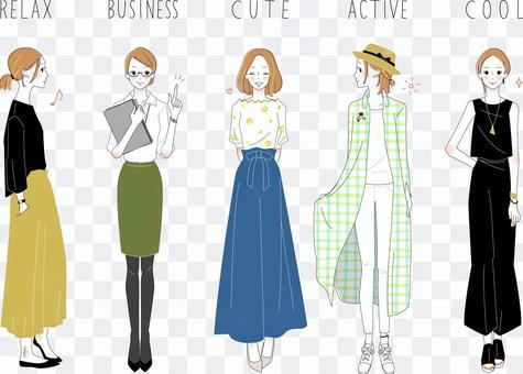 Fashion coordinates of adult girls