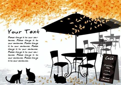 Autumn cafe message card dead leaves and black cat