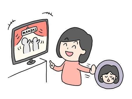 一個女人看電視以逃避焦慮