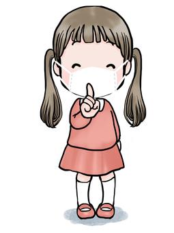 女孩水彩畫-噓!