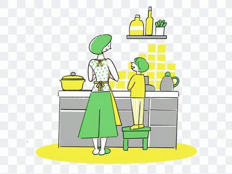 父母和孩子站在廚房裡