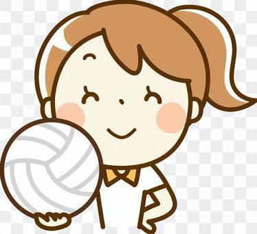一個女孩與排球