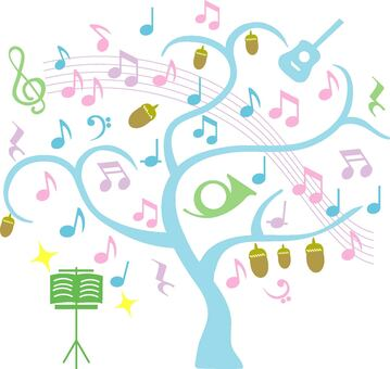 Musical note tree colorful