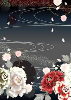 牡丹垂直的日本模式背景例證