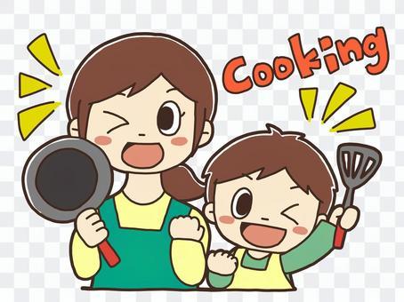 料理をする親子のイラスト