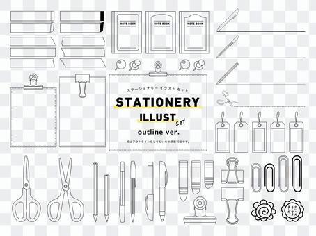 Stationery illustration line art ver