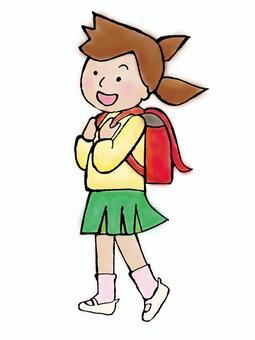 一個書包裡的女孩