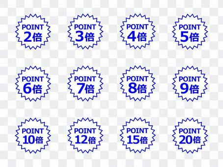 """""""Points 2 to 20 times"""" Blue 1"""
